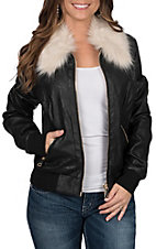 Powder Outfitters by Panhandle Women's Faux Leather Bomber Fur Jacket