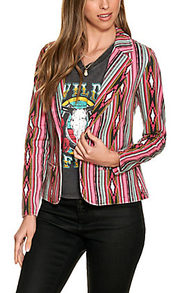 Rock & Roll Cowgirl Women's Pink & Turquoise Aztec Print Blazer