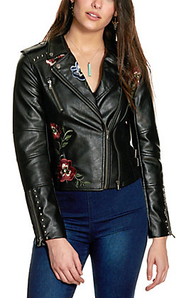 Rock & Roll Cowgirl Women's Black Floral Embroidered Faux Leather Moto Jacket