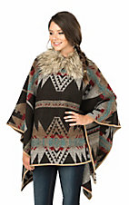 Powder River Women's Brown, Red, and Blue Aztec Print with Fur Lining Long Sleeve Wool Poncho