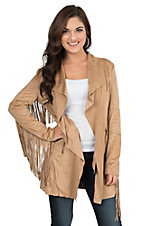 Powder River Women's Camel Faux Suede with Fringe Accents Long Sleeve Jacket