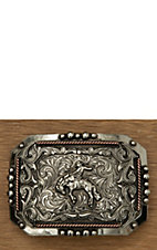 AndWest Vintage Collection Antiqued Silver with Bronc Rider & Copper Rope Accents Rectangle Buckle