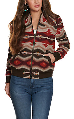 Powder River Women's Brown and Red Aztec Long Sleeve Wool Bomber Jacket