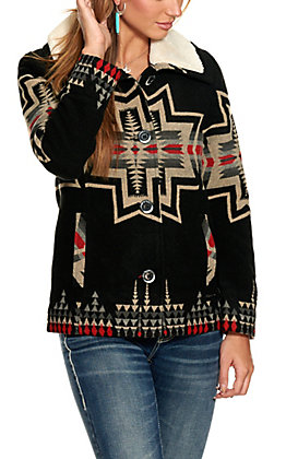 Powder River Women's Black with Aztec and Sherpa Collar Long Sleeve Wool Jacket