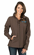 Powder River Women's Chocolate with Turquoise Embroidery Soft Shell Bonded Team Logo Jacket