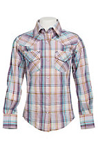 09 Apparel Girl's Purple & Lime Plaid Long Sleeve Western Shirt