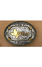 AndWest Antiqued Silver & Gold Texas Motif Oval Buckle