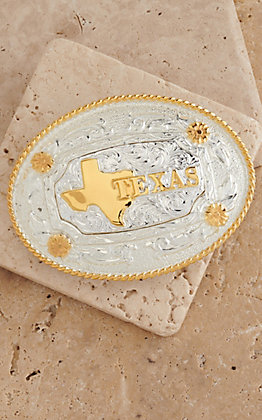 AndWest Shiny Silver & Gold Texas Motif Oval Buckle