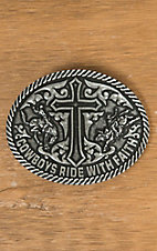 AndWest Antique Silver Cowboys Ride with Faith Oval Buckle