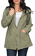 Hem & Thread Women's Olive Hooded Anorak Jacket