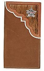 PBR Brindle Hair Scallop Mens Rodeo Wallet/Checkbook Cover