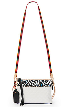 Consuela Tate Midtown White with Leopard Print Crossbody Purse