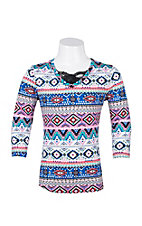 Jody Women's Multicolor Aztec Print V-Neck Long Sleeve Top