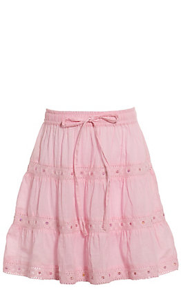 Lore Mae Girls' Pink with Crochet and Sequins Skirt