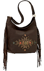 American West Dream Catcher Chocolate Slouch Zip Top Shoulder Bag