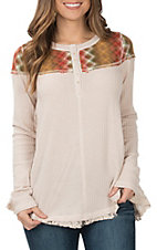 Hem & Thread Women's Blush Texture Colored Yoke Thermal Knit Top