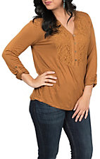 Hem & Thread Women's Mustard with Lace V-Neck Long Sleeve Top