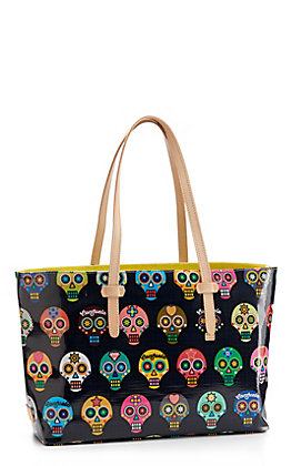 Consuela LuLu East West Black Sugar Skull Tote