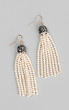 Grace and Emma Maya Beige Bead Tassel Earrings