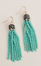 Grace and Emma Maya Turquoise Bead Tassel Earrings
