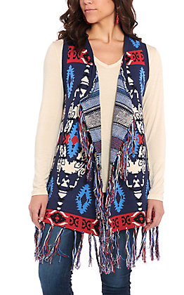 Powder River Outfitters by Panhandle Women's Red, White & Blue Frayed Vest