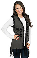Powder River Women's Grey with Black Aztec Print Knit Vest