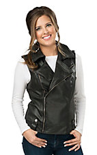 Powder River Women's Black Pleather Moto Vest