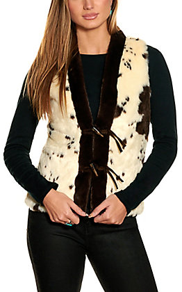 Powder River Women's Natural and Chocolate Cow Faux Fur Toggle Vest