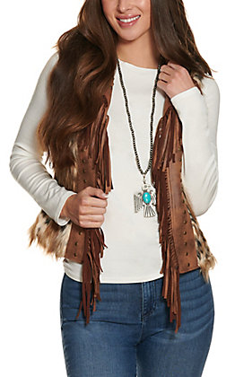 Powder River Women's Brown Faux Fur with Fringe and Studs Vest