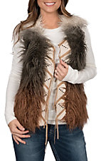 Powder Outfitters by Panhandle Women's Faux Fur Ombre Vest