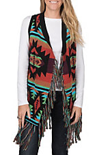 Powder Outfitters by Panhandle Women's Fringed Swing Aztec Vest