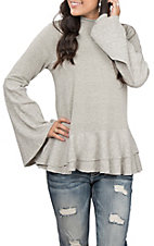 Hem & Thread Women's Heather Grey Double Ruffle Long Flare Sleeve Knit Fashion Top