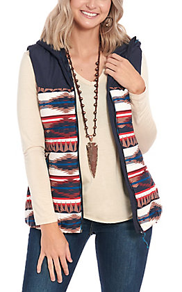 Powder River by Rock & Roll Cowgirl Navy Aztec Vest