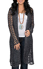 Ethyl Women's Denim Crochet Duster