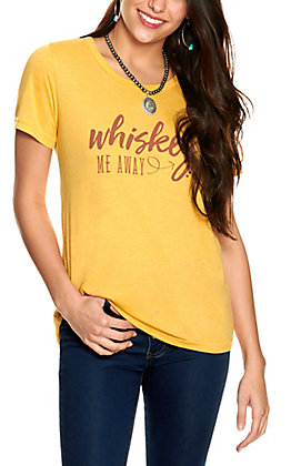 Southern Grace Women's Mustard with Rust Whiskey Me Away Short Sleeve Tee