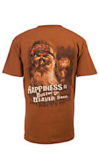 Duck Dynasty Men's Orange Happiness is Bustin' Up Beaver Dams T-Shirt