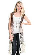 Origami Women's Brown Ombre Long Crochet with Fringe Sleeveless Vest
