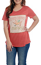 Southern Grace Women's Coral Lord Have Mercy Patch Short Sleeve T-Shirt