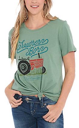 Daisy Rae Women's Green Southern Born Short Sleeve T-Shirt