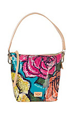 Consuela Wedge Rosie Floral Print Bucket Bag Purse