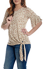 Grace & Emma Cream Cheetah Print Bell Sleeve Fashion Shirt