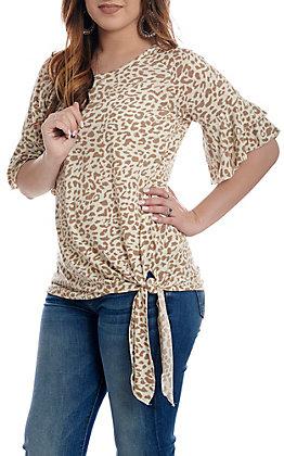 Grace & Emma Cream Cheetah Print Bell Sleeve Fashion Shirt