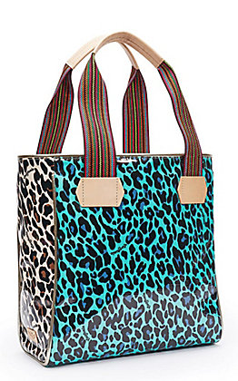 Consuela Mona Turquoise and Brown Leopard Print Classic Tote