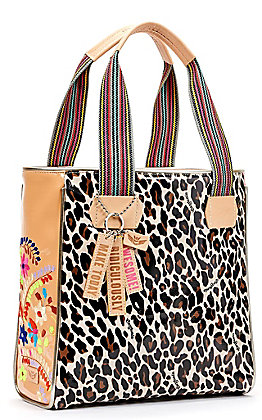 Consuela Liz Cheetah Print and Salmon with Floral Embroidery Classic Tote
