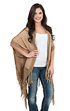 Origami Women's Taupe with Fringe and Knit Details 1/2 Sleeve Kimono