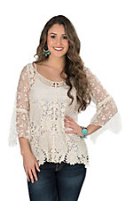 Origami Women's Natural Crochet and Mesh 3/4 Bell Sleeve Fashion Top