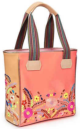 Consuela Emma Coral with Floral Embroidery Classic Tote Bag