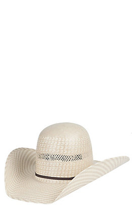 289a4507 American Hat Two Tone Vented Open Crown Straw Cowboy Hat