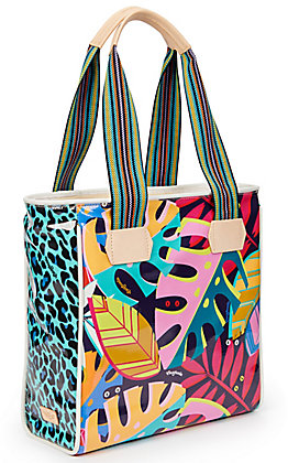 Consuela Maya Palm and Leopard Print Classic Tote