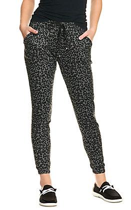 Suzette Women's Grey Leopard Print Fleece Line Jogger Pants
